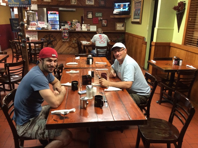 Breakfast at Julias in Los Fresnos enroute to South Padre Island.  Steve and Aaron Charbonneau with their coffees.